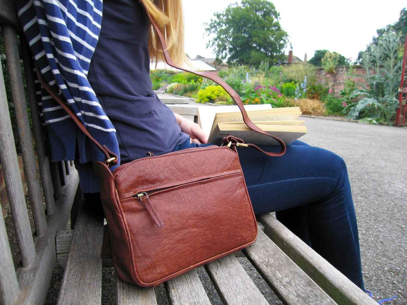 taurus tan leather bag