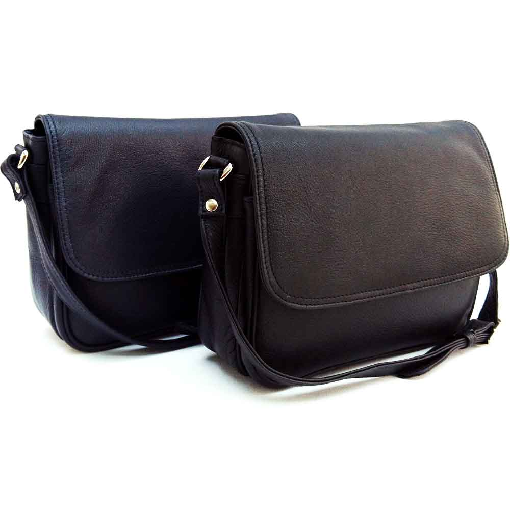 black and navy leather organiser bag