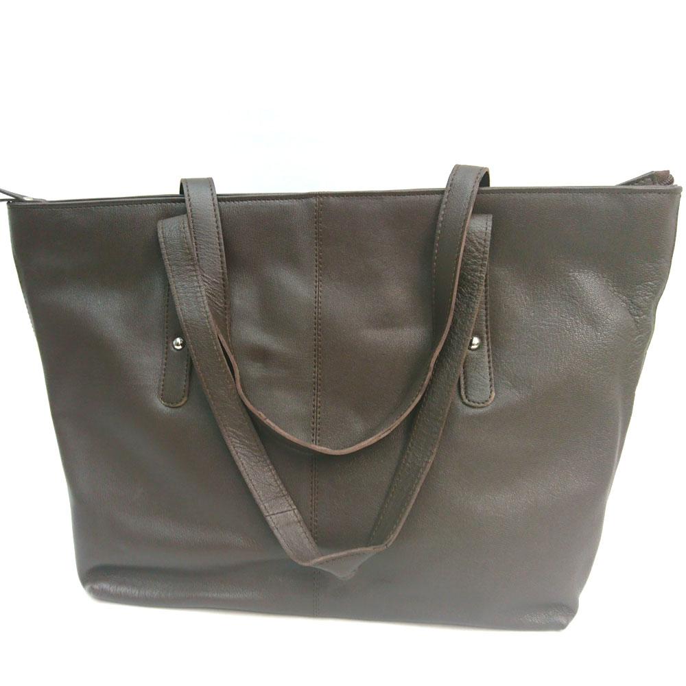 Studded-city-leather-bag-brown