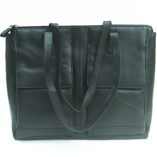double-front-pocket-leather-bag-black