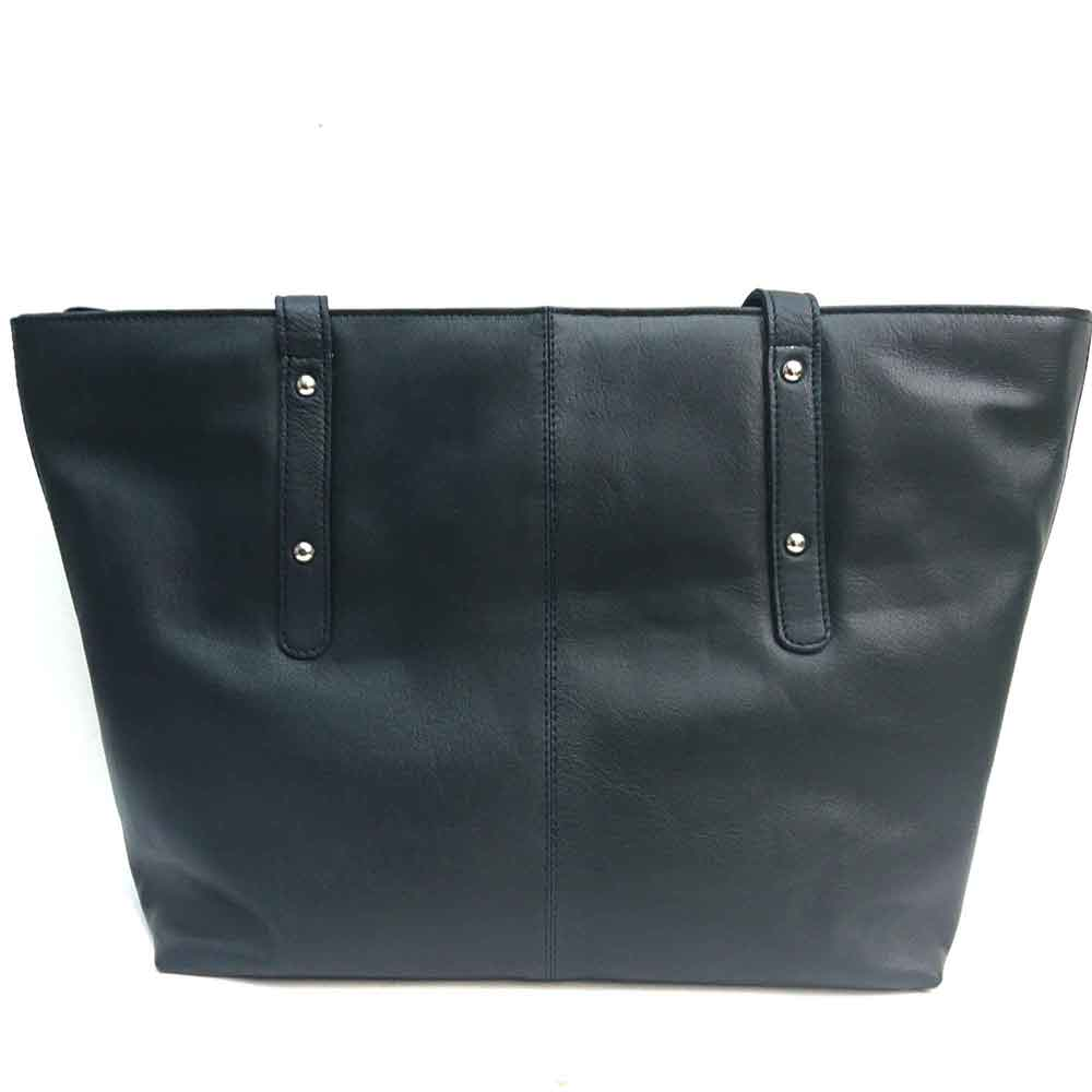 large-navy-leather-studded-bag