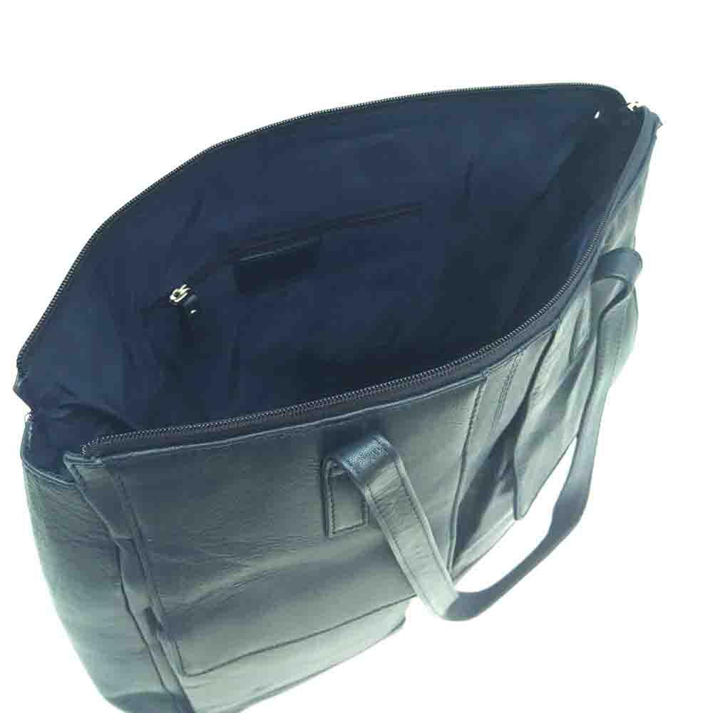 large-navy-leather-twin-pocket-bag