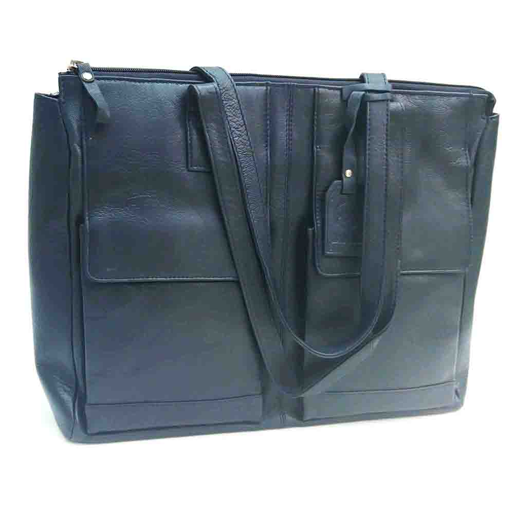 large-navy-leather-twin-pocket-bag