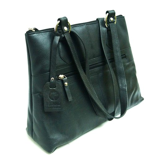 Twin-handle-leather-city-bag-black