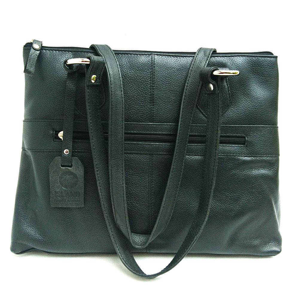 Twin-handle-leather-city-bag-black
