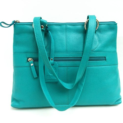 Twin-handle-leather-city-bag-turquoise